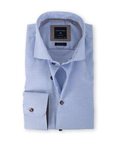 Profuomo Shirt Slim Fit Blauw Ruit