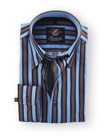 Shirt Hoge Boord Brown Blue Stripe foto 0