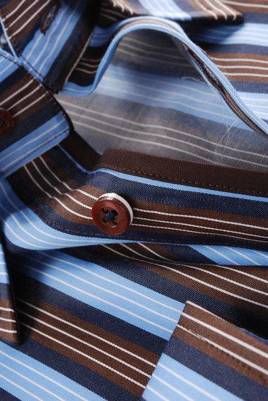 Shirt Hoge Boord Brown Blue Stripe foto 1