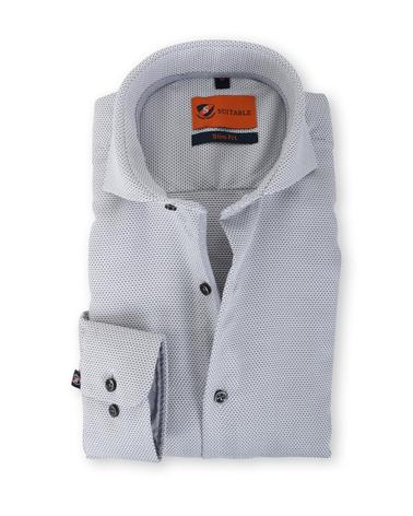 Suitable Overhemd Strijkvrij Grijs 135-4