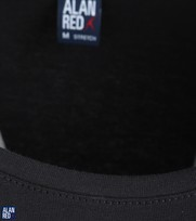 Detail Alan Red T-Shirt Extra Brede O-Hals Zwart