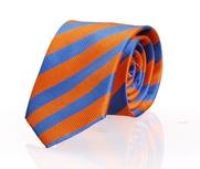 Stropdas Zijde Oranje - Midden Blauw Streep FD07