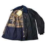 Detail Barbour Bedale Wax Jas Donkerblauw