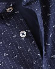 Detail Bertoni Overhemd Malte Donkerblauw