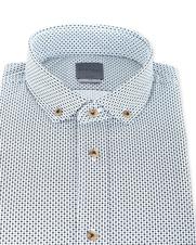 Detail Bertoni Overhemd Malte Zwart Wit