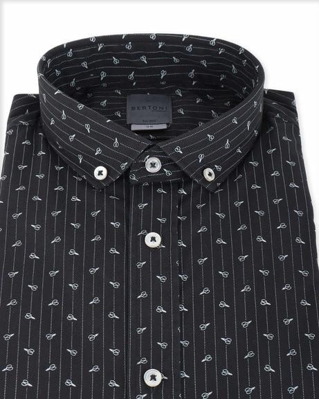 Detail Bertoni Overhemd Malte Zwart
