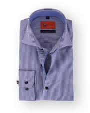 Blauw Overhemd Streep Slim Fit 113-04