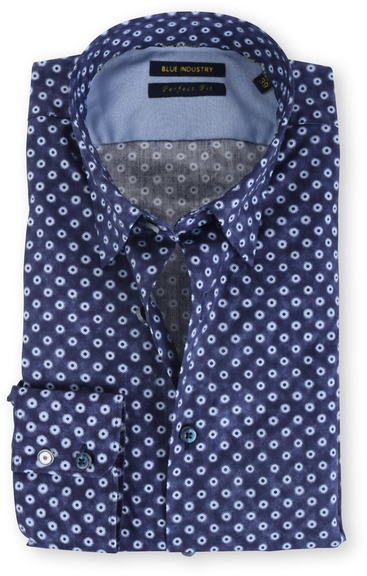 Blue Industry Shirt Button Under Navy Print