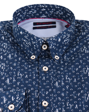 Detail Blue Industry Shirt Navy Print