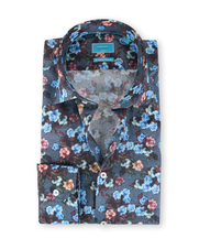 British Indigo Shirt Indigo Digital Flower