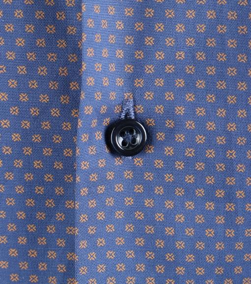Detail Casual Overhemd Blauw Camel Print
