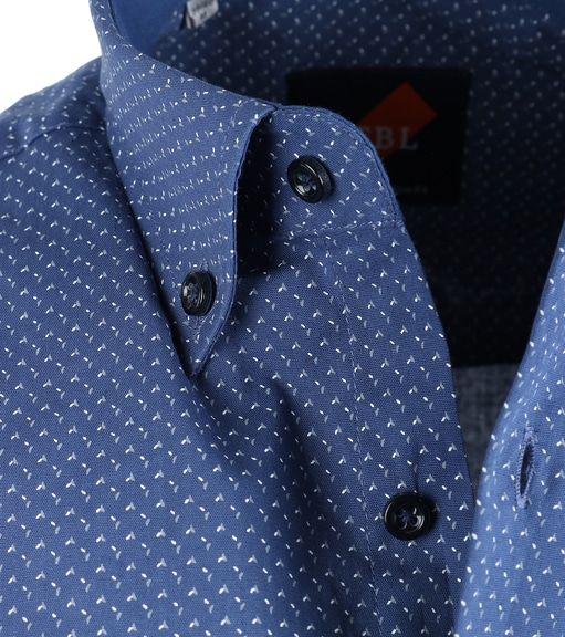 Detail Casual Overhemd Blauw Print