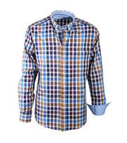 Casual Overhemd Brown Blue Check