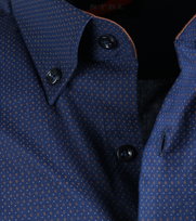 Detail Casual Overhemd Donkerblauw Camel Print