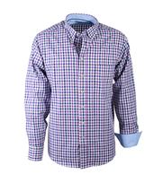 Casual Overhemd Paars Blauw Ruit