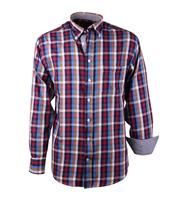 Casual Overhemd Rood Blauw Ruit