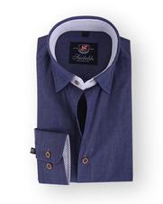 Donkerblauw Overhemd Print 103-5