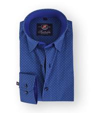 Donkerblauw Overhemd Print 103-6
