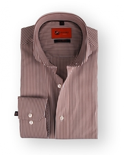 Dress Slim Fit Brown Stripe Cutaway