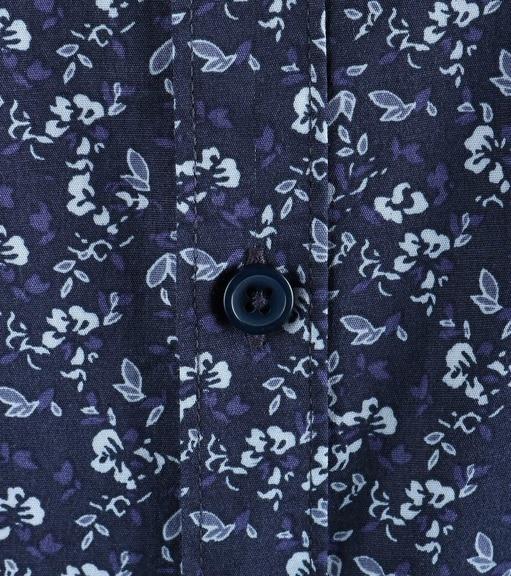 Detail Dstrezzed Bloemetjes Overhemd Donkerblauw