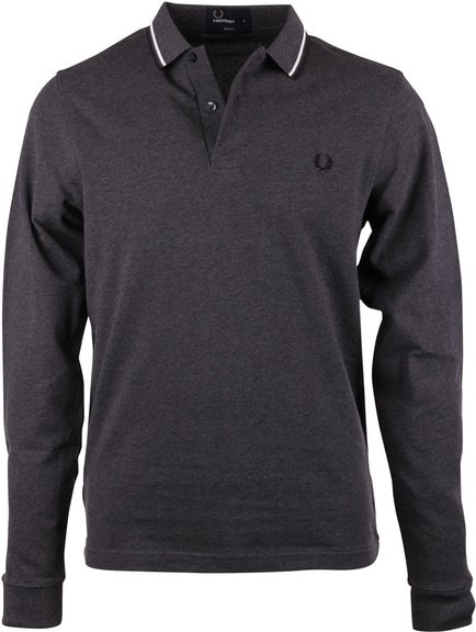 Fred Perry Polo Longsleeve Anthrazit Slim Fit