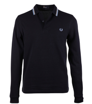 Fred Perry Polo Longsleeve Donkerblauw Slim Fit