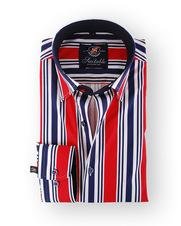 Gestreept Overhemd Navy Rood