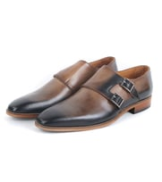 Leather Double Monk Strap Brown