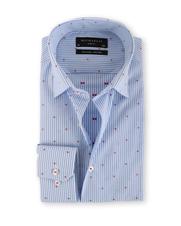 Michaelis Overhemd Slim Fit Streep Blauw