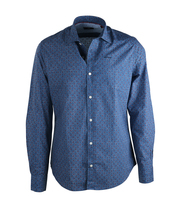 NZA Overhemd Blauw Dessin 16GN507
