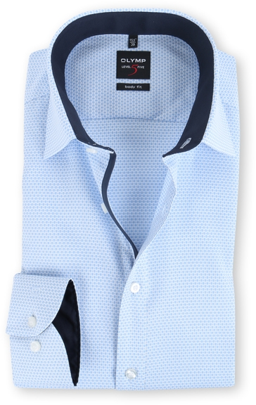 OLYMP Level Five Body Fit Shirt Blauw Dessin