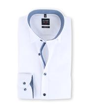 Olymp Body Fit Shirt Wit + Blauw Print