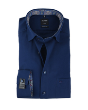 Olymp Modern Fit Shirt SL7 Donkerblauw Button Under