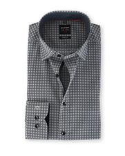 Olymp Overhemd Body Fit Print Zwart