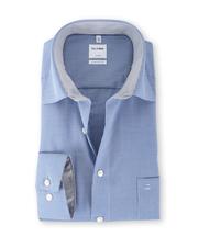 OLYMP Luxor Strijkvrij Shirt Blauw Ruit Comfort Fit