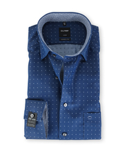 Olymp SL7 Modern Fit Shirt Marineblauw