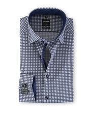 Olymp SL7 Modern Fit Shirt Navy Print