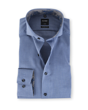 Olymp Strijkvrij Shirt Donkerblauw Dessin