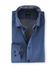Olymp Strijkvrij Shirt Donkerblauw Print