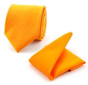 Pochet Zijde Met Stropdas Oranje F01