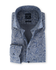 Profuomo Overhemd Flower Navy Slim Fit