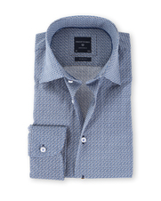 Profuomo Overhemd Slim Fit Print Blauw