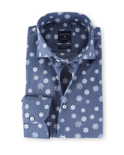Profuomo Overhemd Snowflake Navy Slim Fit