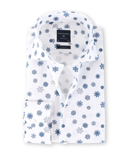 Profuomo Overhemd Snowflake Wit Slim Fit