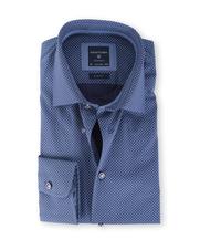 Profuomo Shirt Blauwe Print Strijkvrij