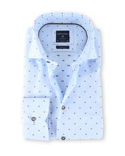 Profuomo Shirt Strijkvrij Print Lichtblauw