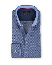 Profuomo Super Slim Fit Overhemd Blauw Print