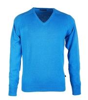 Pullover V-Hals Baumwolle Aqua