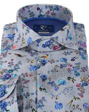 Detail R2 Bloemetjes Shirt Grijs