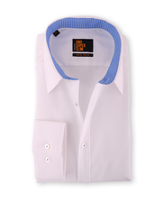 Seidensticker Hemd Bügelfrei Slim Weiß mit Blau